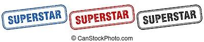 superstar square isolated sign set. superstar stamp