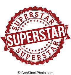 Superstar stamp - Superstar grunge rubber stamp on white,...