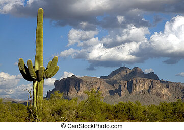 Storm clouds moving in during the late afternoon over the superstition mountains in arizona