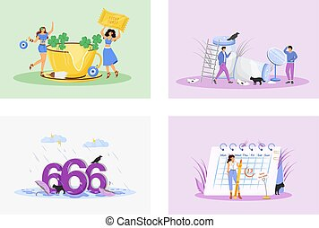 Superstitions flat concept vector illustrations set. Good and bad luck metaphors. Superstitious people 2D cartoon characters. Positive symbols, lucky amulets. Unfortunate numbers and misfortune signs