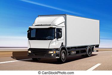 superstrada, camion, bianco, spostamento