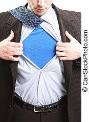 superuomo, concetto affari, -, eroe super, uomo affari