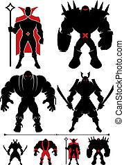 Supervillain Silhouette - 4 different supervillain...