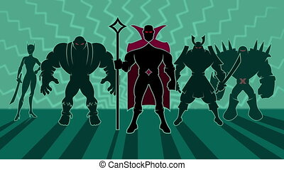 Supervillain Team - Looping animation of team of...