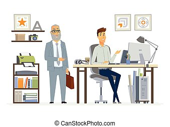 Supervising Staff - modern vector cartoon business characters illustration