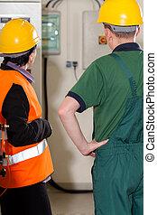 supervisor, el consultar, con, trabajador