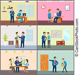 Supervisor of Company with Novice, Boss in Office - ...
