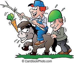 Supervisor pushes a Donkey - Hand-drawn Vector illustration ...