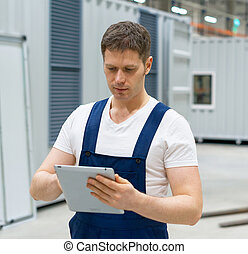 supervisor, tablet, plaats., pc, bouwsector, mooi