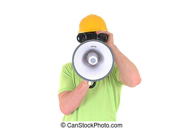 Supervisor with megaphone