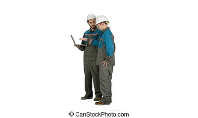 Supervisors using laptop at construction site on white background.