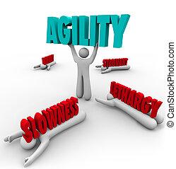 supervivencia, acción, rápido, persona, agilidad, elevación, palabra