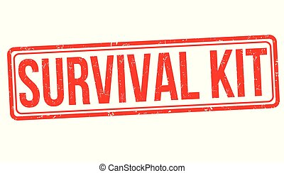 supervivencia, estampilla, kit, grunge, caucho
