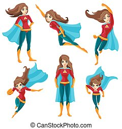 Superwoman Actions Icon Set - Longhaired superwoman actions...