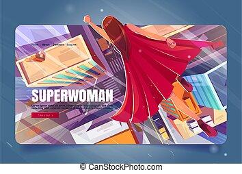 Superwoman cartoon landing page, super hero girl