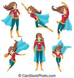 superwoman, ensemble, actions, icône