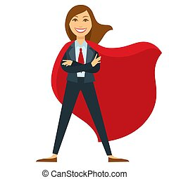 Superwoman in formal office suit with red tie and cloak. ...