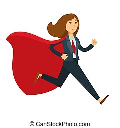 Superwoman or super woman office manager in superhero costume running vector cartoon character icon