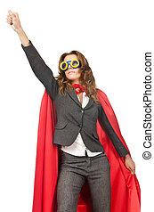 superwoman, vrijstaand, op, de, witte