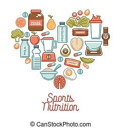 suplementos, nutrição, coração, alimento, cartaz, dieta, esportes, saudável, vetorial, produtos, condicão física