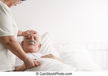 suportar, doente, idoso, marido, esposa