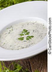 suppe, chervil, træ, skål, frisk