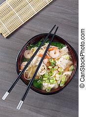 suppe, garnele, kloß, asiatisch