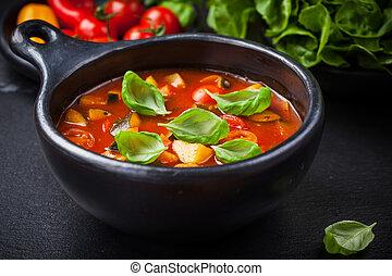 suppe, gemuese, minestrone