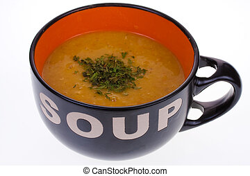 suppe, in, a, schüssel