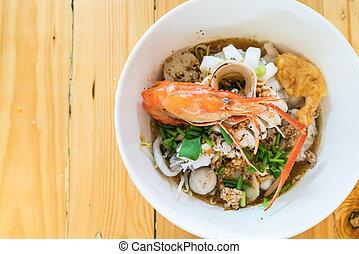 suppe, meeresfrüchte, pikant, asiatisch, nudel