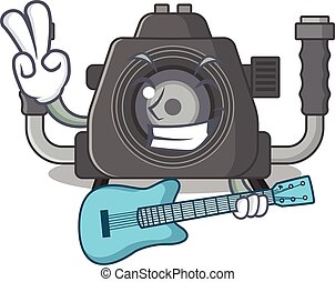 Supper cool underwater camera cartoon playing a guitar
