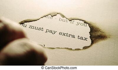 supplémentaire, payer, impôt, doigts, tapotement, texte, ...