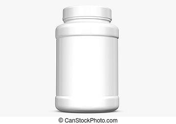 Supplement bottle on white background.3D Rendering