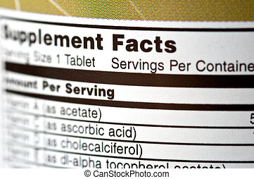 Supplement Facts - Closeup of a bottle of vitamins