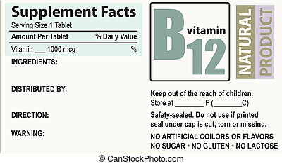 Supplement facts Vitamin B - Basic label with supplement ...