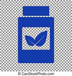 Supplements container sign. Blue icon on transparent background.