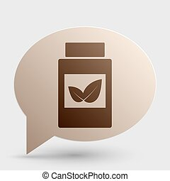 Supplements container sign. Brown gradient icon on bubble with shadow.