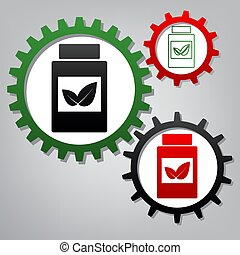 Supplements container sign. Vector. Three connected gears with i