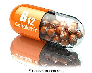 supplements., vitamina, dietético, b12, capsule.,...