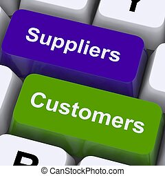 Suppliers And Customers Keys Showing Supply Chain Or Distribution