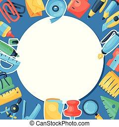 supplies., 学校, 買い物, illustration., オフィス, マーカー, パターン, sharpener, 定規, ∥あるいは∥, 割引, ベクトル, のり, 購入, notebook., 文房具, そのような物, ペン, 道具, ラウンド, 鉛筆