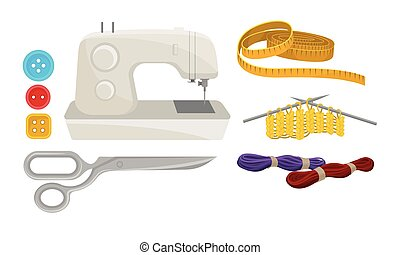 Supplies and Accessories for Sewing Isolated on White Background Vector Set