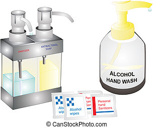 Supplies needed to get germs off of hands..