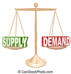 Supply and Demand words on a gold scale or balance to illustrate the principle law of a free market economy where customer needs will balance with the amount of goods supplied by sellers