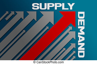 Supply and demand concept with red arrow