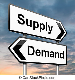 Supply and demand. - Illustration depicting a roadsign with...