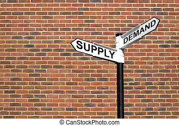 Supply and Demand signpost - Concept image of a signpost...
