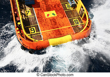 Supply boat transfer cargo to oil
