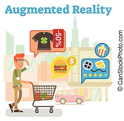 Supply chain augmented reality vector illustration with city scene and virtual street offerings