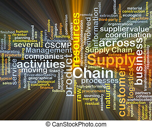 Supply chain background concept glowing